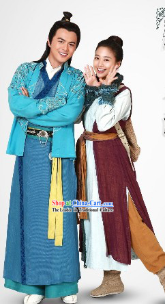Ancient Chinese Young Couple Clothes for Men and Women
