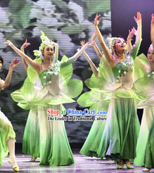 White and Green Jasmine Flower Dancewear Costumes and Headwear Complete Set for Women