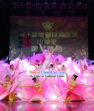 Flower Petal Group Dance Costumes and Headdress Complete Set