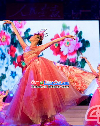 Chinese Style Opening Dance Flower Dance Costumes and Headdress Complete Set