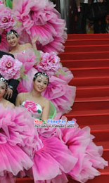 Pink Flower Dance Costume and Headdress Complete Set