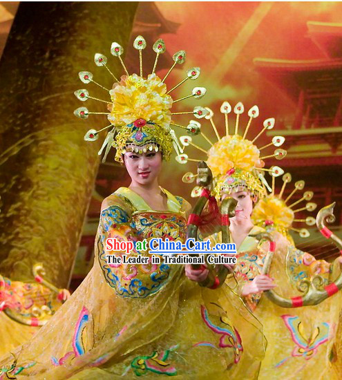 Chinese Tang Dynasty Imperial Classical Dancing Costumes Dancewear and Headdress Complete Set