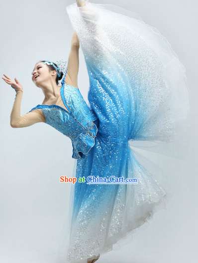White to Blue Color Change Recital Dance Costumes and Headpieces
