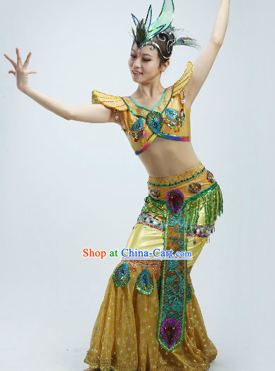 High Shoulder Dai Dance Costumes and Headpieces for Women