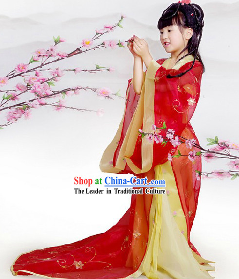 China Imperial Princess Red Hanfu Wedding Dress with Long Trail