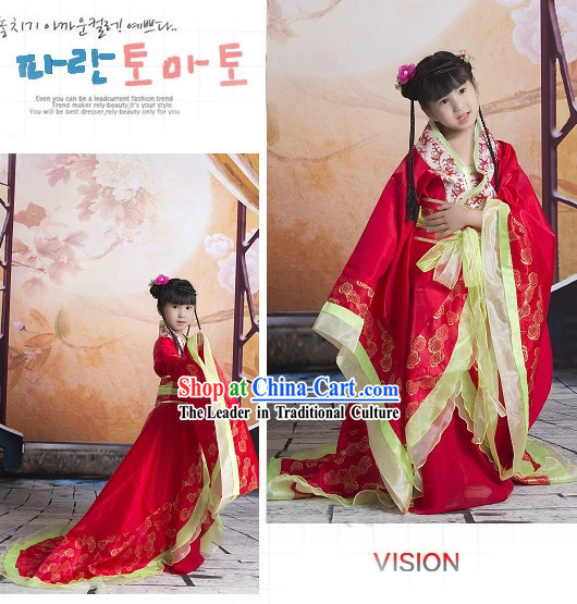China Imperial Princess Red Hanfu Wedding Suit with Long Trail