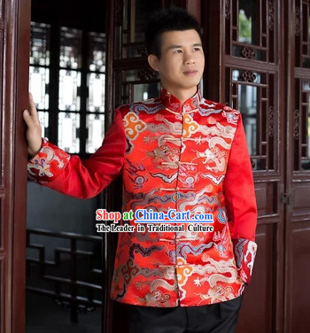 Traditional Chinese Red Dragon Bridegroom Blouse