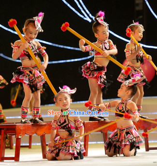 Traditional Chinese Ethnic Minority Dance Costumes for Kids