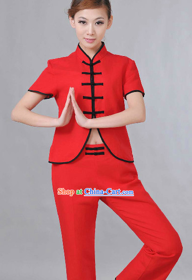 Top Comfortable Red Meditation Yoga Tea-making Kung Fu School Dress Set