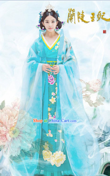 Chinese Costume Period of the Northern and Southern Dynasties Ancient Chinese Lanling Princess Clothing and Headdress Complete Set