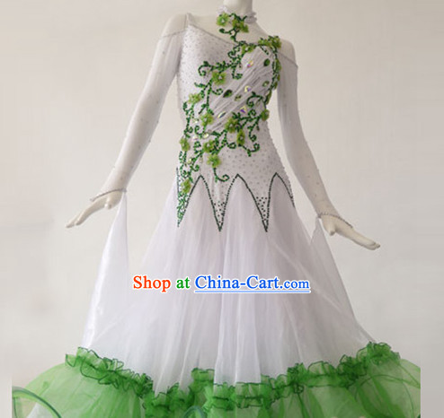 Special Custom Make Ballroom Dance Embroidered Costumes for Women