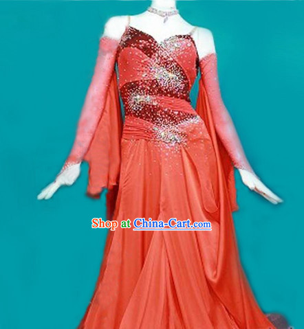 Special Custom Make Top Red Waltz Dancing Competition Costume for Women