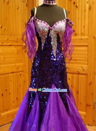 Professional Top Custom Make Purple Ballroom Dancing Suit