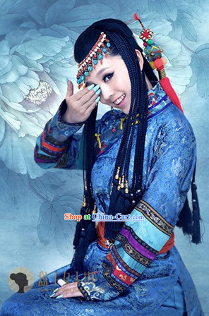 Ancient Chinese Ethnic Clothes and Hair Accessories Complete Set