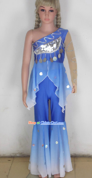 Blue Traditional Chinese Dancing Costumes for School Students
