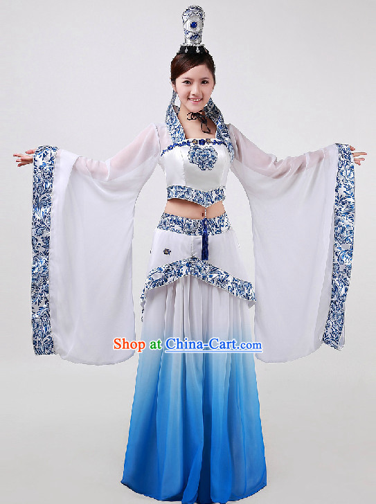 Top Chinese Blue and White Classical Dancing Costumes and Headwear Full Set for Women