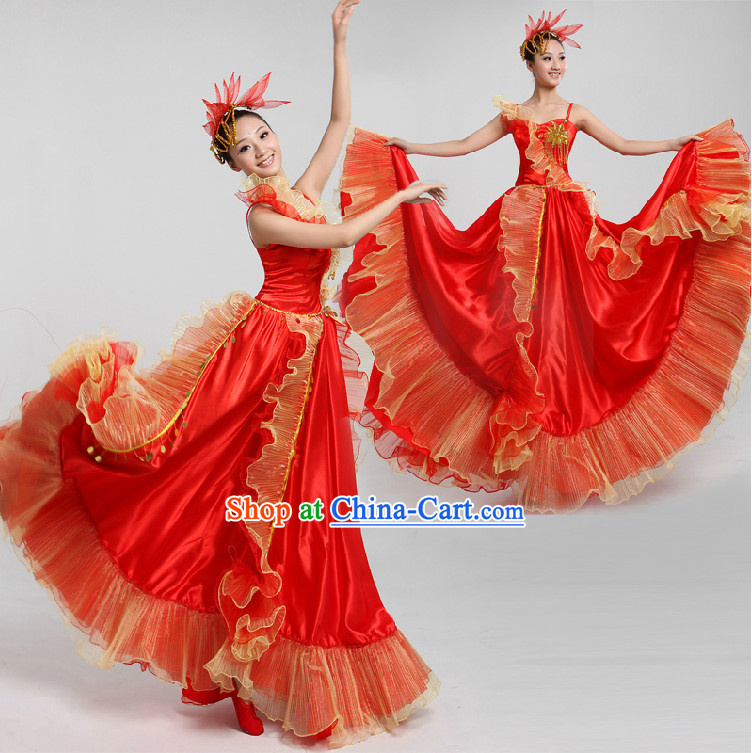 Professional Custom Make Stage Performance Red Skirt and Headwear