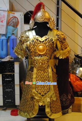 Top Quality Ancient Chinese Hero Armor Clothing and Hat Complete Set for Men