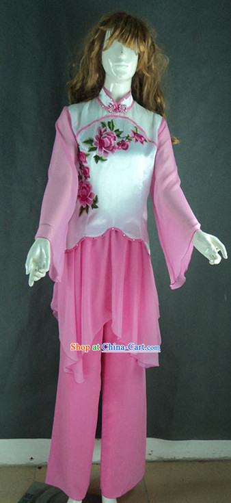 Pink Mandarin Collar Peony Embroidery Dance Costumes
