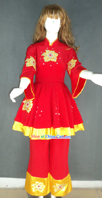 Traditional Chinese Red Spring Festival Dance Costumes for Female Dancers