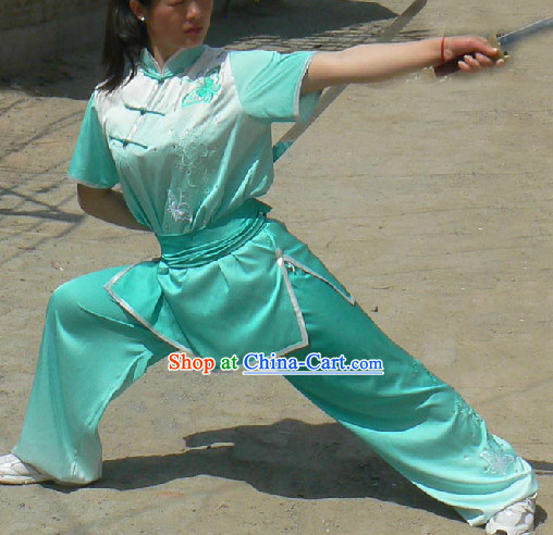 Short Sleeves Color Transition Silk Gongfu Competition Uniform