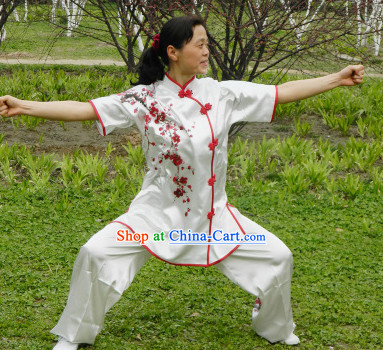 Beijing Sport University Short Sleeves Kung Fu Uniform with Plum Blossom Embroidery Pattern