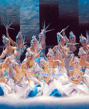 Professional Stage Performance Ice Queen Dancing Costumes and Headwear Complete Set