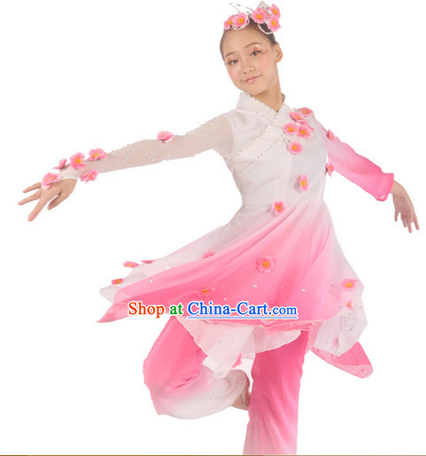 Traditional Chinese Peach Flower Dancing Costumes and Headwear for Women