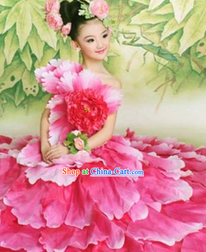 Top Petal Dance Costumes and Headwear Complete Set for Kids