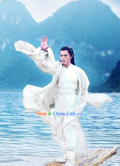 Chinese Film White Gong Fu Master Dress Complete Set for Men