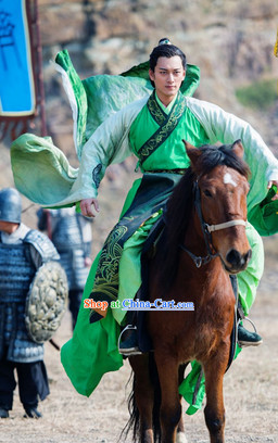 Period of the Northern and Southern Dynasties Chinese Costume Lanling Queen China TV Drama Green Han Fu Guzhuang Clothes for Men
