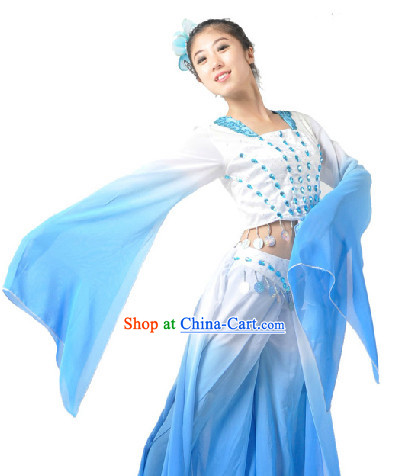 Professional Color Transition Fan Dance Wear