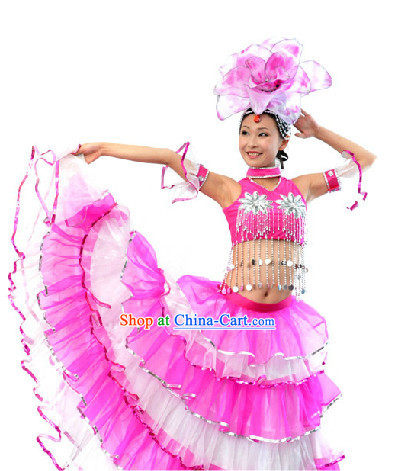 Professional Stage Performance Team Dance Costumes and Headdress for Women