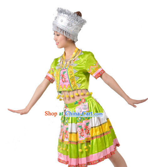 Chinese Miao Dance Team Costumes for Girls