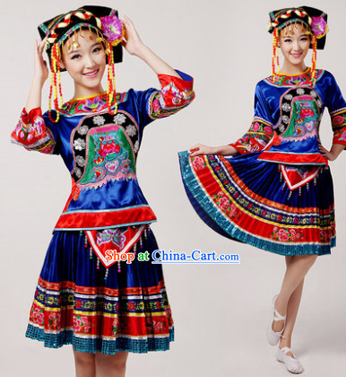 Chinese Miao People Clothes and Hat for Women