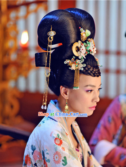 Ancient China Tang Dynasty Hair Ornaments and Wig