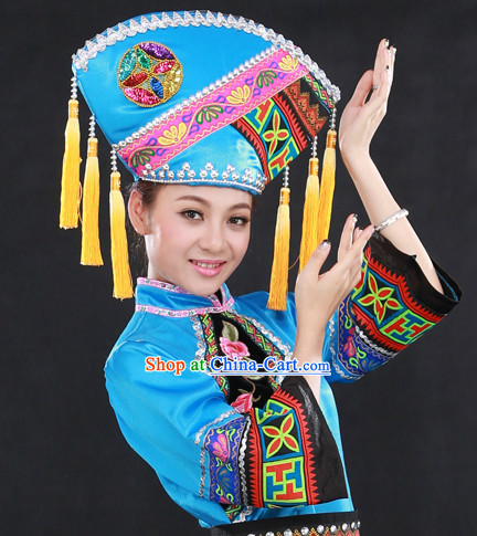 Chinese China Guangxi Zhuang Ethnic Group Dresses and Hat for Women