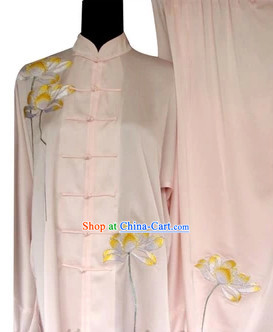 Professional Pink Lotus Embroidery Kung Fu Tai Chi Silk Uniform