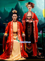 Ancient Chinese Emperor and Empress Clothes Complete Set
