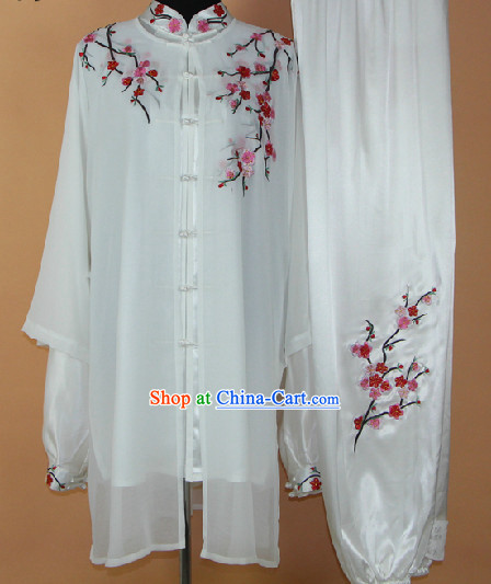 Embroidered Plum Blossom Silk Kung Fu Tai Chi Clothes Complete Set