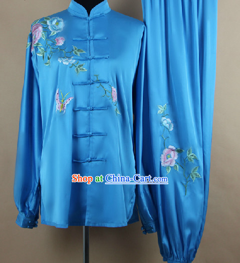 Traditional Chinese Blue Flower and Butterfly Martial Arts Uniform Complete Set