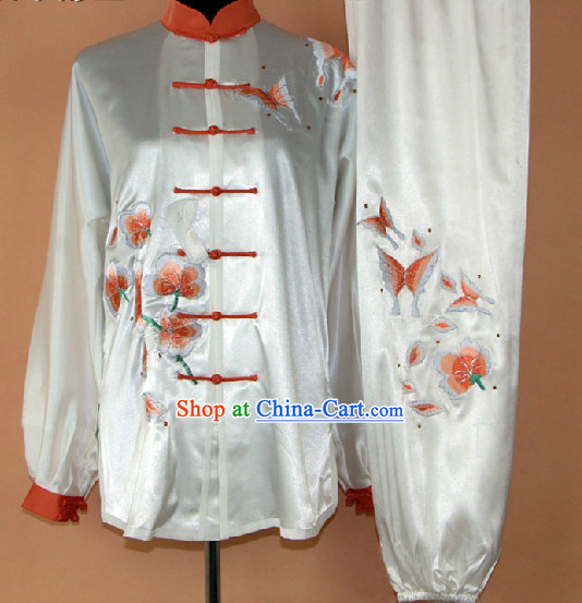Traditional Chinese White Embroidered Flower and Butterfly Martial Arts Uniform Complete Set