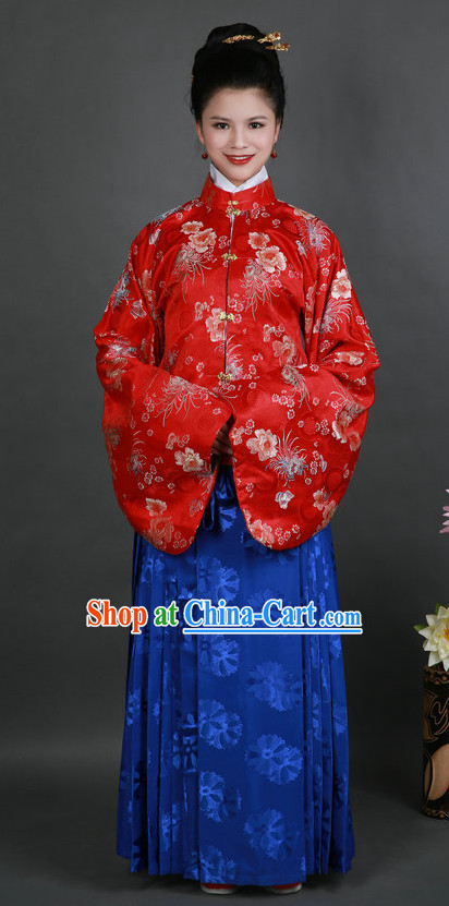 Red and Blue Ming Dynasty Hanfu Costumes and Hair Accessories Complete Set for Women