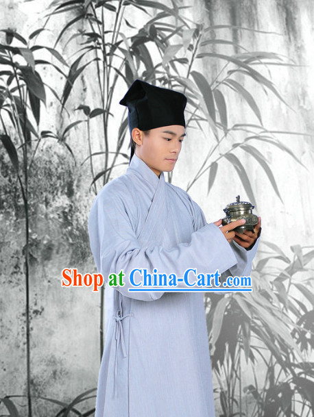 Traditional Chinese Zhiduo Attire Clothes and Hat Complete Set for Men
