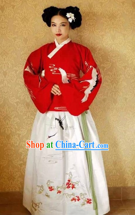 Chinese Traditional Embroidered Cranes Clothes