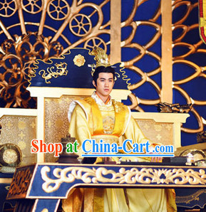 Chinese Traditional Emperor Costume and Crown Full Set for Men