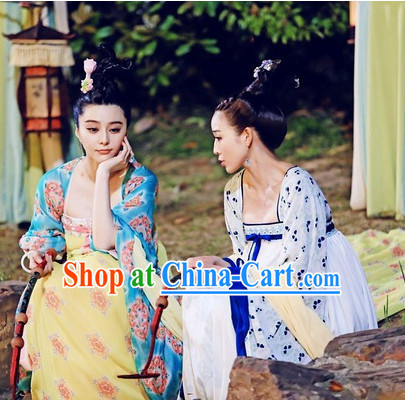 Ancient Chinese Beauty Costume and Headpieces 2 Sets