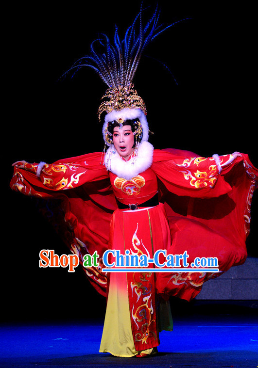 Zhao Jun Chu Sai Stage Performance Costumes and Hair Accessories Complete Set