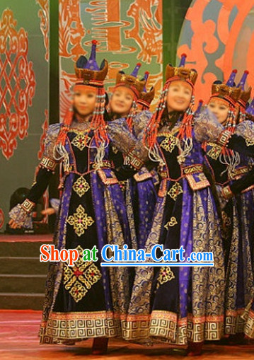 Chinese Traditional Mongolian Clothes and Hat Complete Set