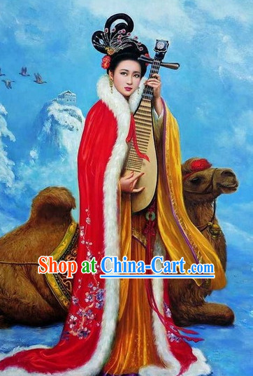 Chinese Costume Han Dynasty Period Wang Zhaojun Four Chinese Beauties Mantle for Women